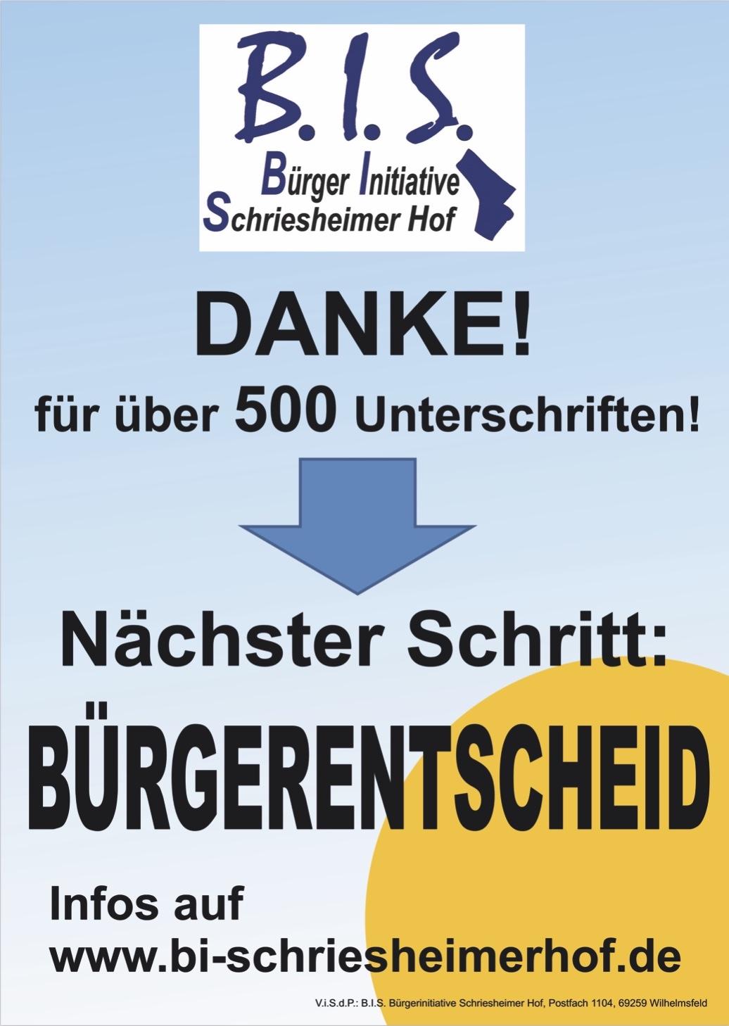 """Plakat mit Dank an mehr als 500 Bürgerinnen und Bürger Wilhelmsfelds für Ihre Unterschriften zum Bürgerbegehren der Bürgerinitiative """"Schriesheimer Hof"""""""