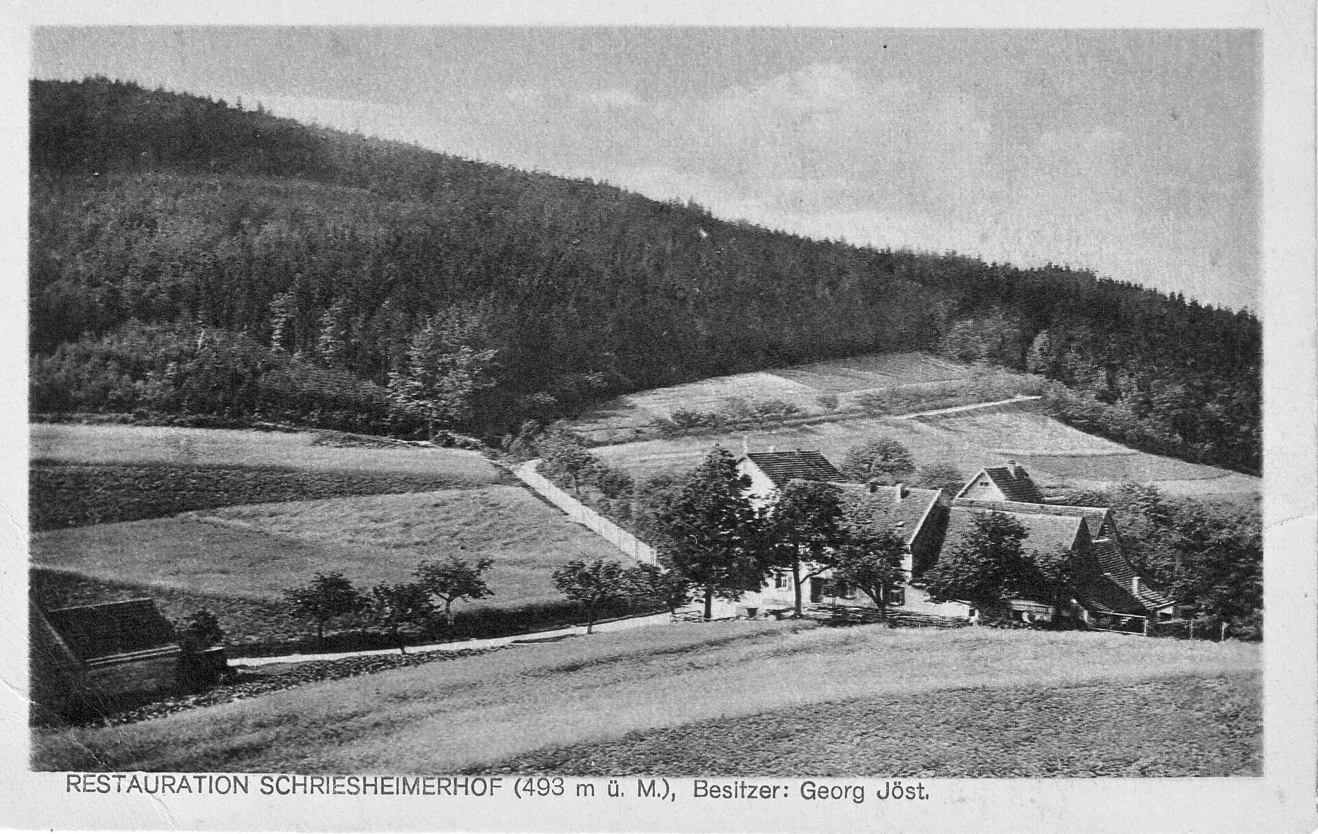 Historische Aufnahme des Schriesheimer Hofes in Wilhelmsfeld (schwarz-weiß)